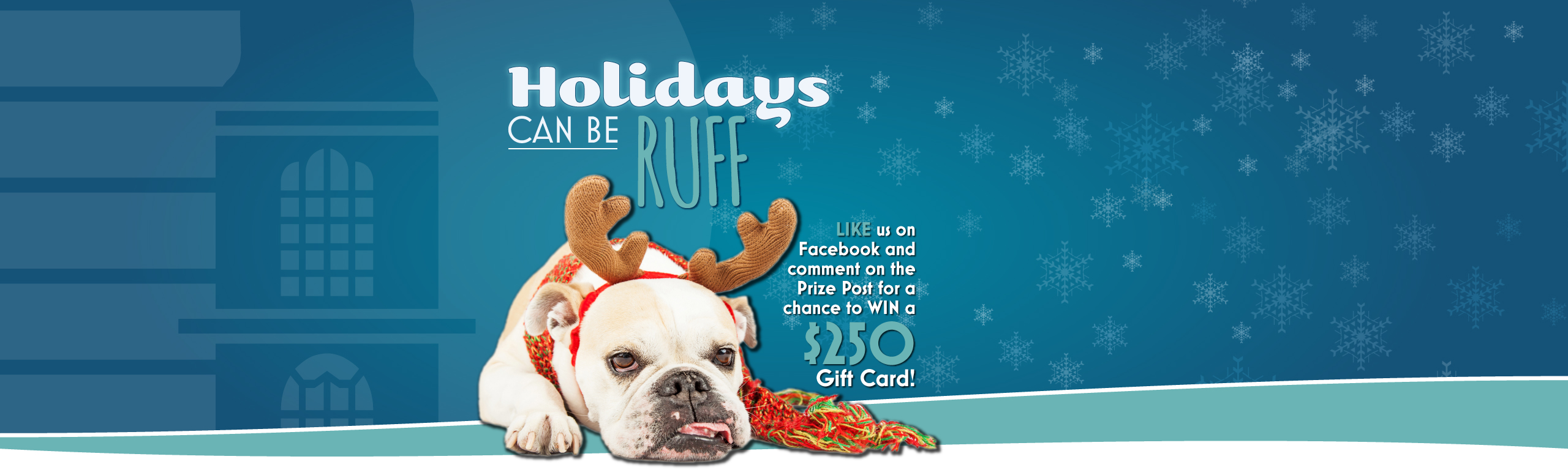 Holidays can be RUFF! Like us on Facebook and comment on the prize post for a chance to WIN a $250 Gift Card!