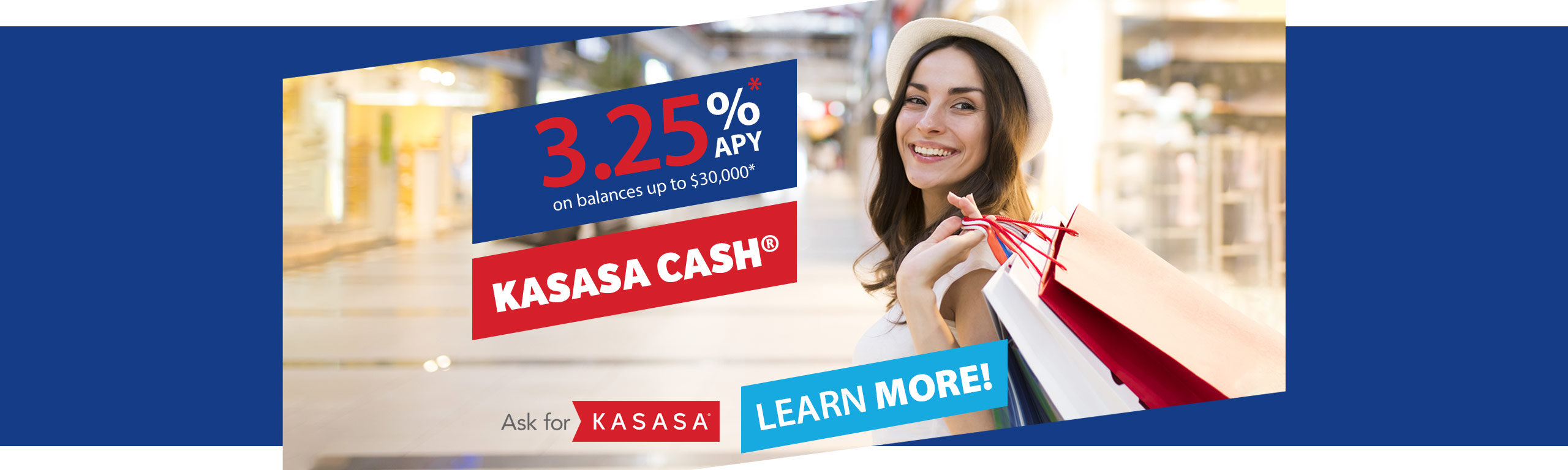 Kasasa Cash - Earn 3.25% APY* on balances up to $30,000. Learn more!